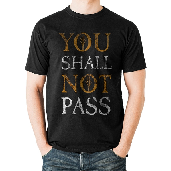Lord Of The Rings - You Shall Not Pass Text Men's Large T-Shirt - Black
