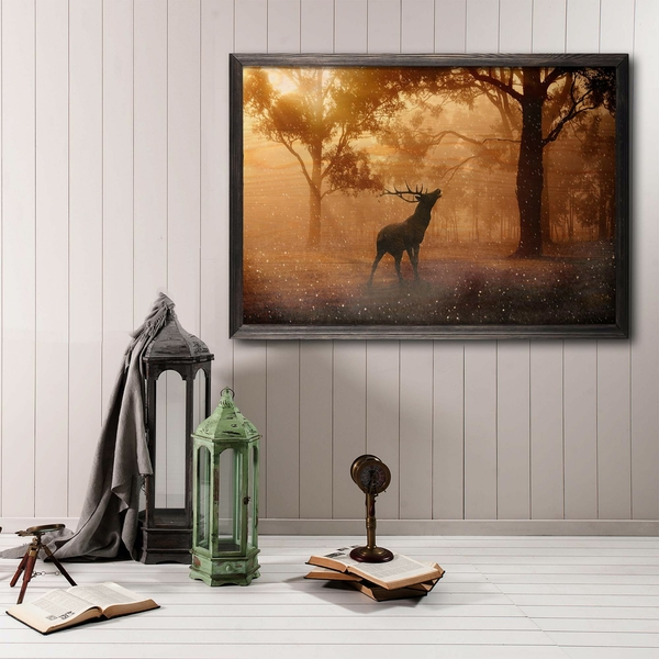 Dream Forest Multicolor Decorative Framed Wooden Painting