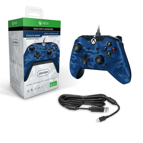 PDP Wired Controller Blue Camo for Xbox One