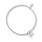 Dragonfly Charm with Sterling Silver Ball Bead Bracelet