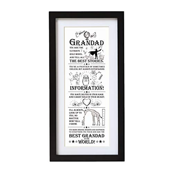 Arora The Ultimate Gift for Man Printed Word Poster-Black Wooden Framed Wall Art Picture-World Best Grandad, Multicolour, One Size