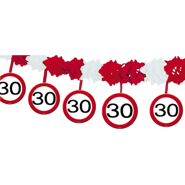 30th Birthday Traffic Sign Garland with Hangers