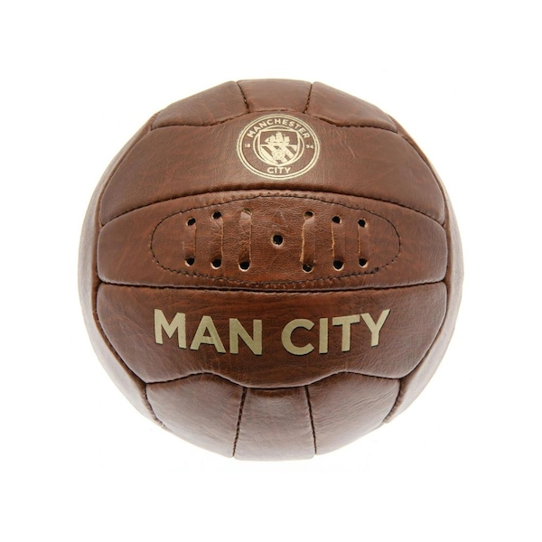 Man City Retro Faux Leather Heritage Ball Size 5