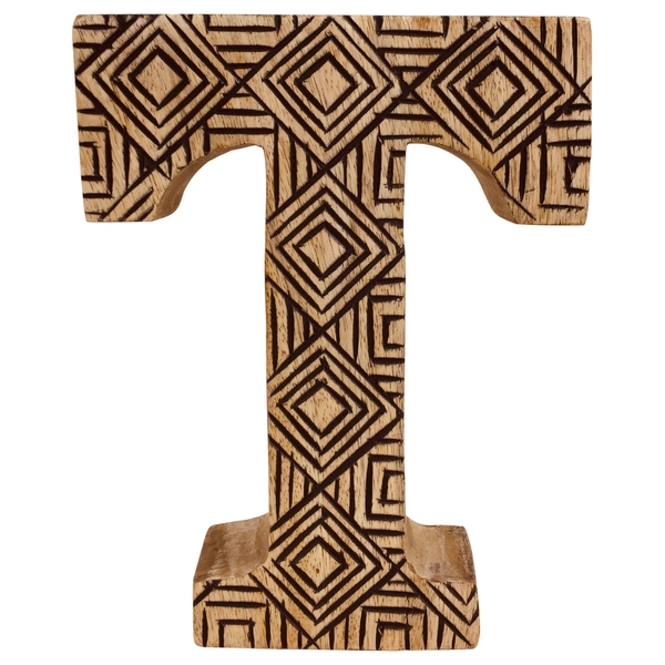 Letter T Hand Carved Wooden Geometric