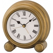 Seiko QXE052G Antique Finish Mantel Alarm Clock Gold