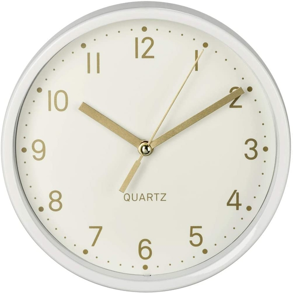 Hama Golden Desk Clock Quiet Diameter 16 cm White
