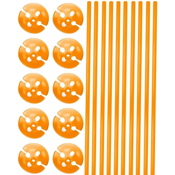 Balloon Sticks With Holders Orange (Pack Of 10)