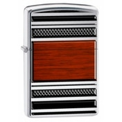 Zippo Steel & Wood High Polish Chrome Windproof Lighter