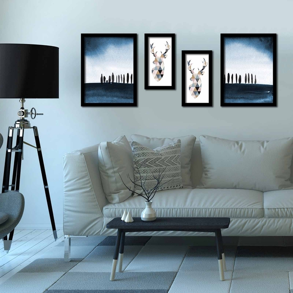 4P3040SCT022 Multicolor Decorative Framed MDF Painting (4 Pieces)