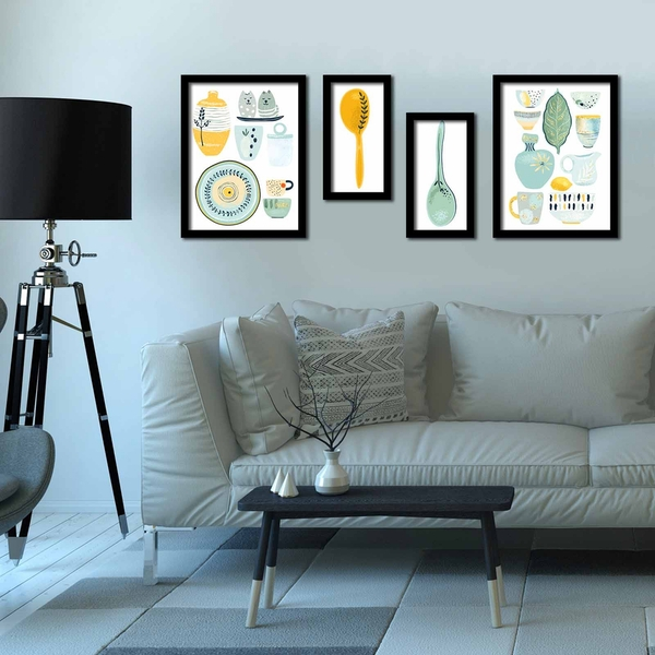 4P3040SCT020 Multicolor Decorative Framed MDF Painting (4 Pieces)