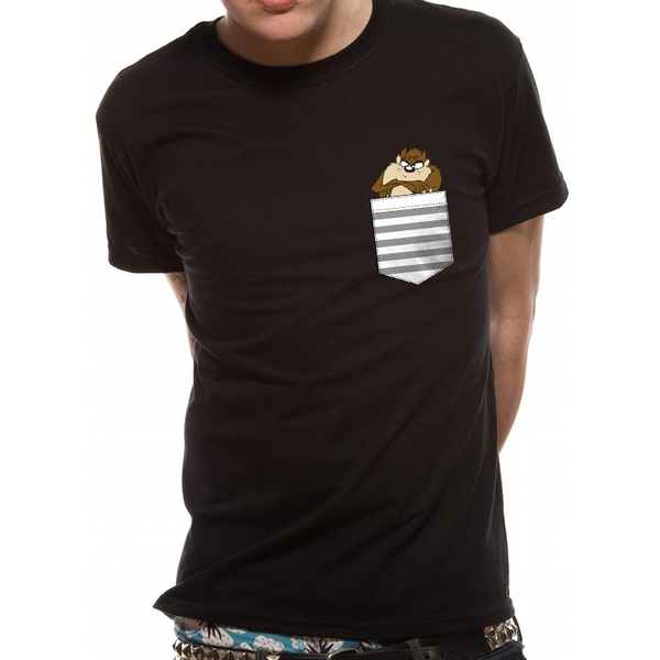 Looney Tunes - Unisex Small Taz Pocket T-Shirt (Black)
