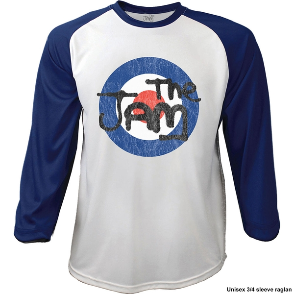 The Jam - Target Logo Distressed Men's Large Raglan T-Shirt - Navy Blue, White