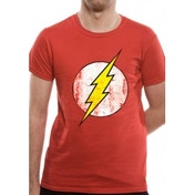 The Flash Distressed Logo DC Essentials Range T-Shirt XX-Large - Red