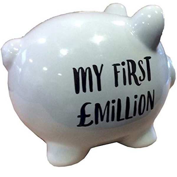 'Pennies & Dreams' Ceramic Pig Money Bank - My First Million