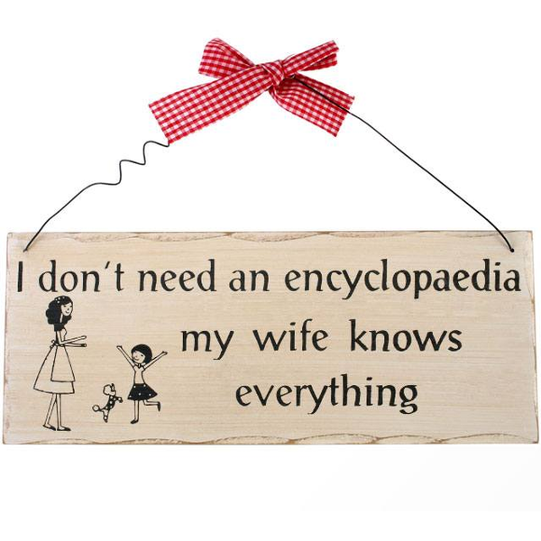 I Don't Need An Encyclopedia Hanging Sign