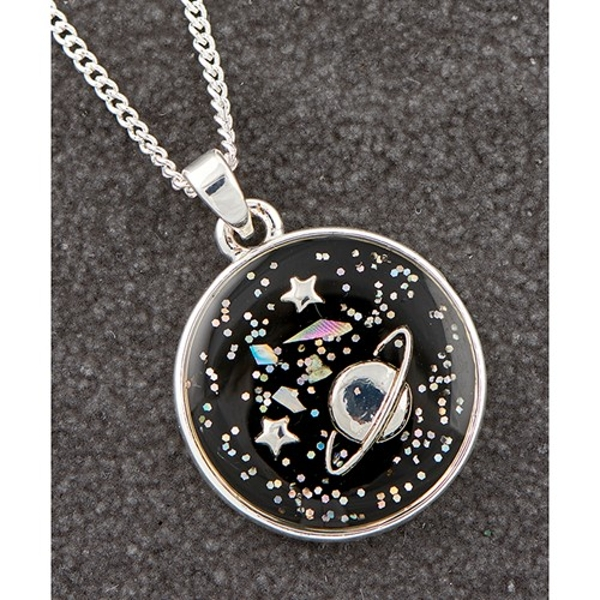 Midnight Sparkle Silver Plated Round Planet Necklace