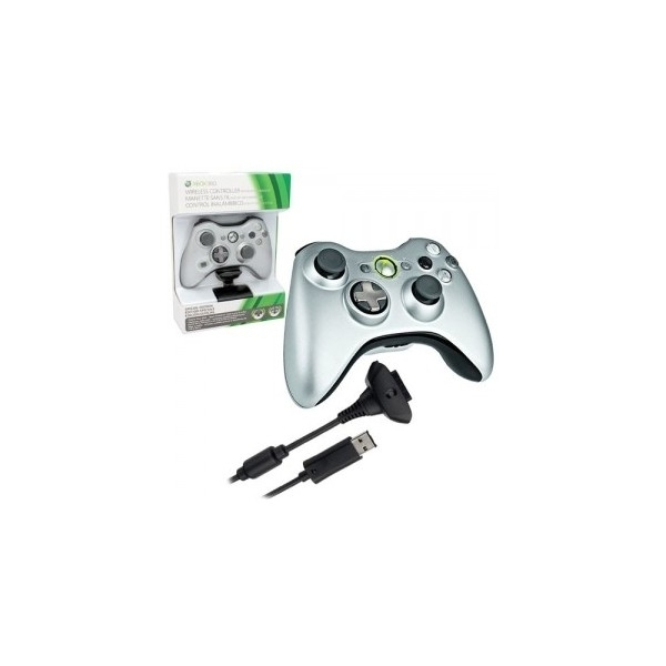Ex-Display Official Wireless Silver Controller + Play & Charge Kit Xbox 360 Used - Like New - Image 2