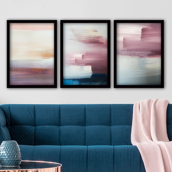 3SC61 Multicolor Decorative Framed Painting (3 Pieces)