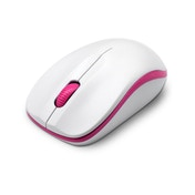 Dynamode Compoint Wireless Ambidextrous 3-Button 1600DPI Optical Mouse with Nano USB Adapter (White/Pink)