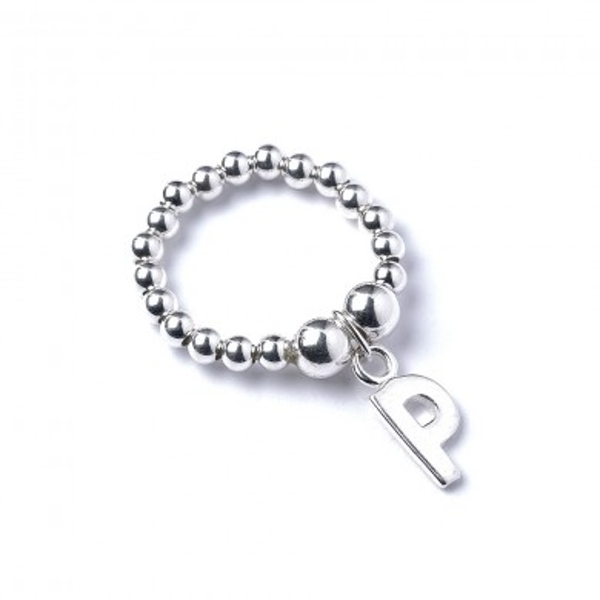 Initial P Charm with Sterling Silver Ball Bead Ring