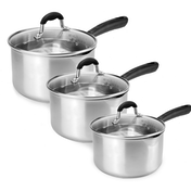 Set of 3 Stainless Steel Saucepans | M&W