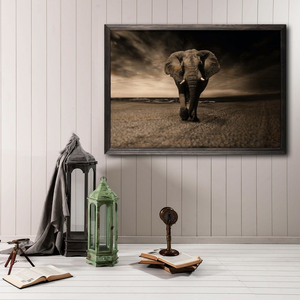 Strong Elephant Multicolor Decorative Framed Wooden Painting