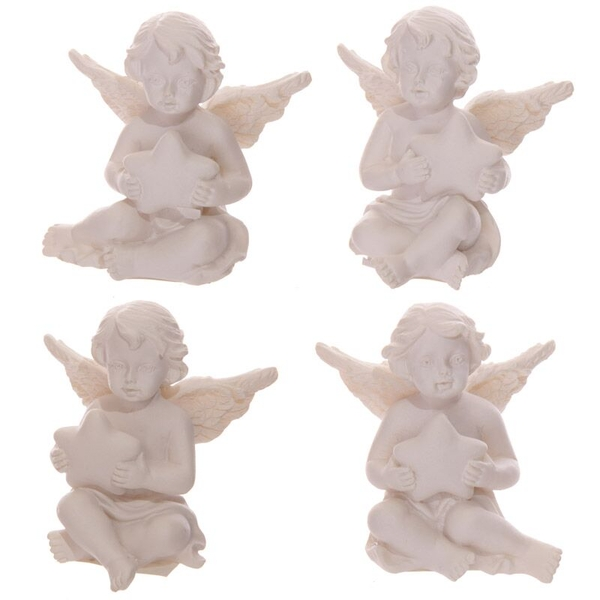 Cherub Holding Star (Pack Of 4) Figurine Holding Star