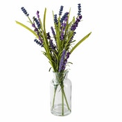 Faux Lavender and Grasses in Tapered Glass Vase
