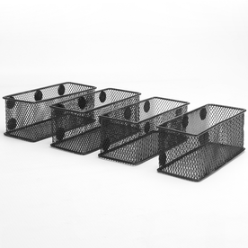 Set of 4 Black Magnetic Storage Baskets | M&W