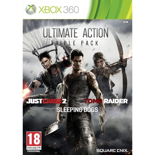 Ultimate Action Triple Pack (Tomb Raider/Just Cause 2/ Sleeping Dogs) Xbox 360 Game