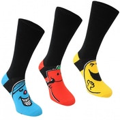 Mr Men 3 Pack Crew Socks UK Size 7-11 (Black)