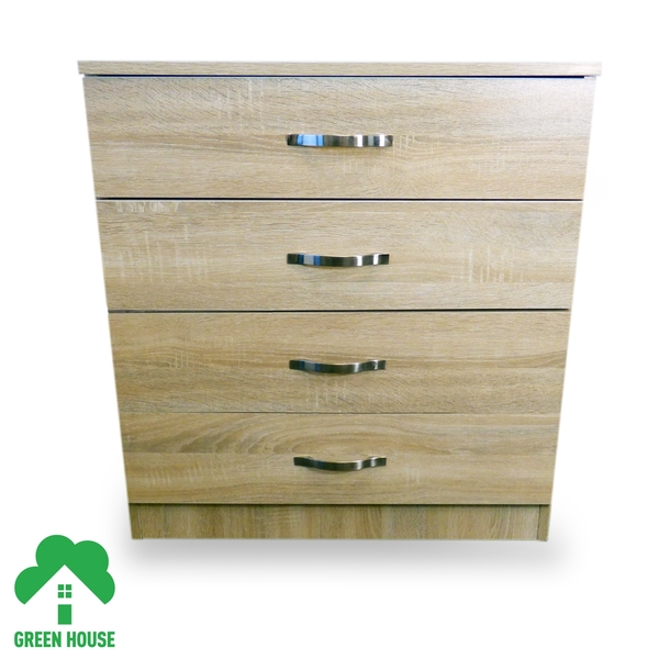 4 Chest Of Drawers Oak Bedside Cabinet Dressing Table Bedroom Furniture Wooden Green House