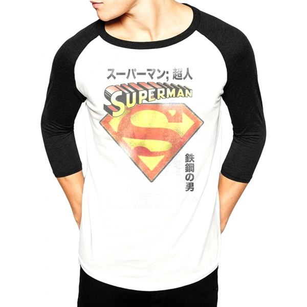 Superman - Japanese Men's Medium Baseball Shirt - White