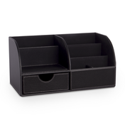 Faux Leather Desk Organiser | Pukkr Black