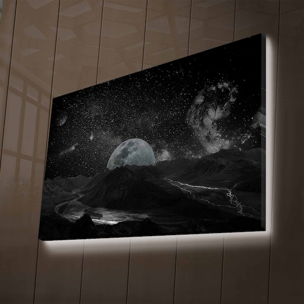 NASA-026 Multicolor Decorative Led Lighted Canvas Painting