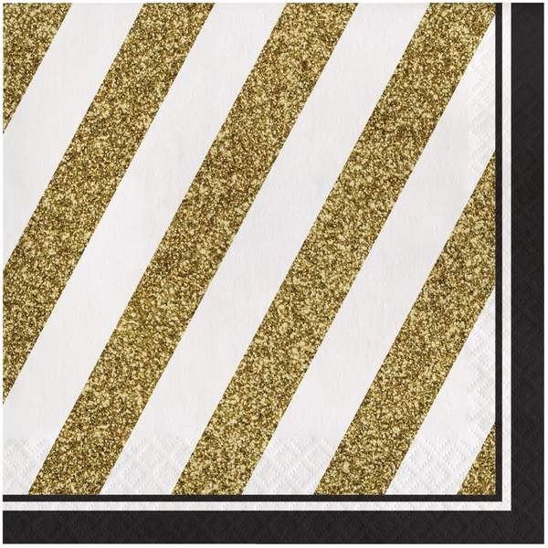 Black and Gold Lunch Napkins (Pack Of 16)