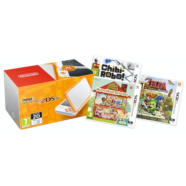Nintendo 2DS XL Handheld Console White and Orange UK Plug with 3 Games