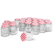 Set of 24 Hexagonal Mouth Glass Jam Jars | M&W