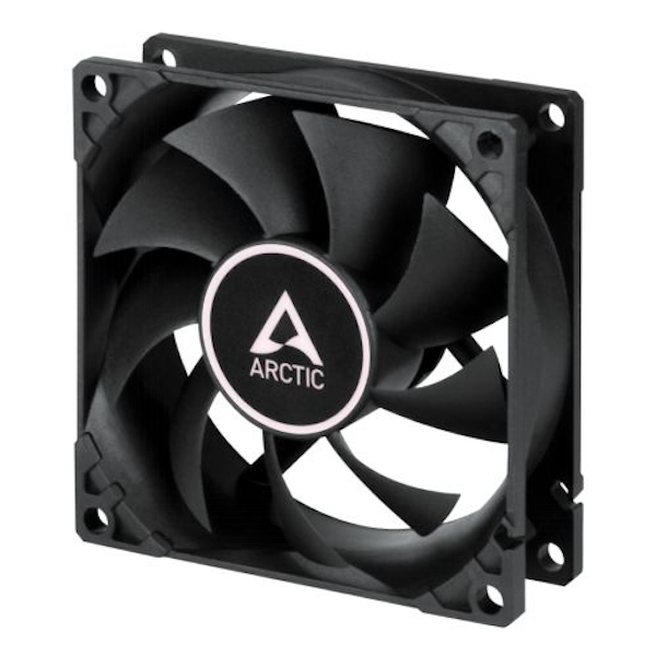 Arctic F8 Silent 8cm Case Fan, Black, 9 Blades, Fluid Dynamic, 6 Year Warranty