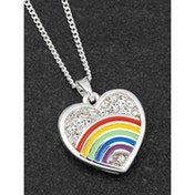 Colourful Rainbow Silver Plated Sparkle Disk Necklace