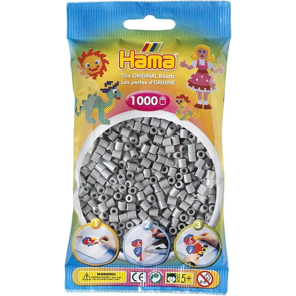 Hama - 1000 Beads in Bag (Grey)