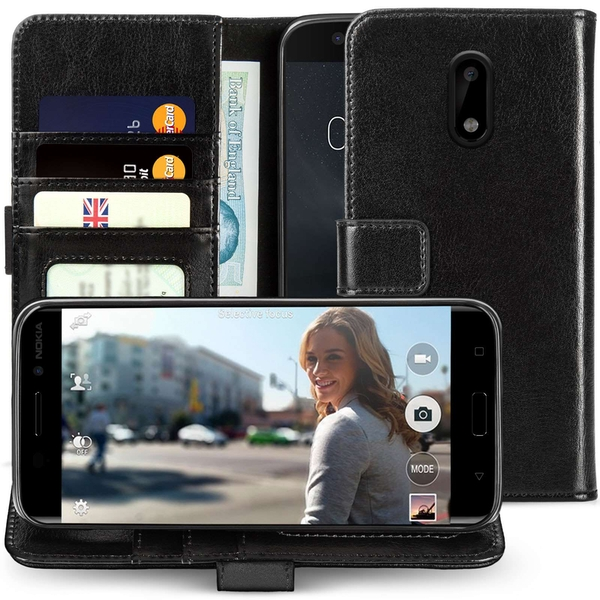 Nokia 6 Real Leather ID Wallet - Black