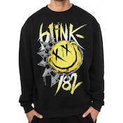 Blink 182 - Smiley Unisex X-Large Crewneck Sweatshirt - Black