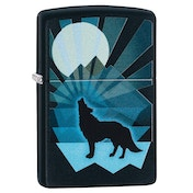 Zippo Wolf and Moon Design Black Regular Windproof Lighter