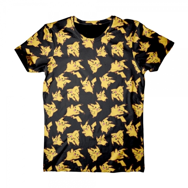 Pokemon Pikachu All-Over Print Large T-Shirt - Black/Yellow