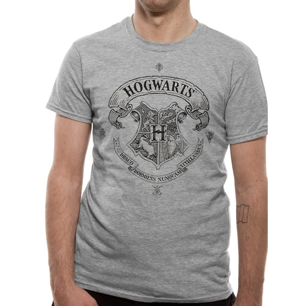 Harry Potter - Hogwarts Crest Men's Medium T-Shirt - Grey