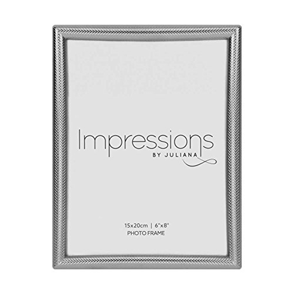 """6"""" x 8"""" - Impressions Textured Silver Photo Frame"""