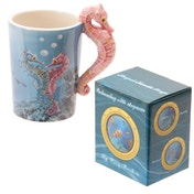 Sealife Design Seahorse Shaped Handle Ceramic Mug