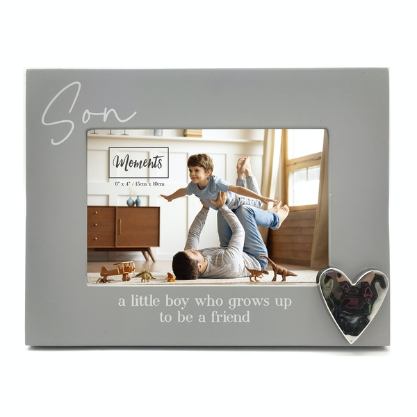 """Moments Wooden Photo Frame with Heart 6"""" x 4"""" - Son"""