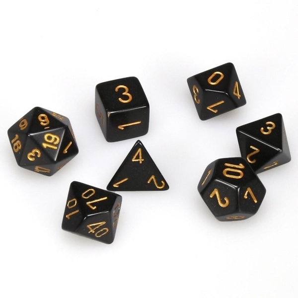 Chesse Opaque Poly 7 Dice Set: Black/Gold